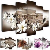 Pintura moderna da lona 5 painéis magnólia flores fotos de parede para sala estar modular fotos decoração casa