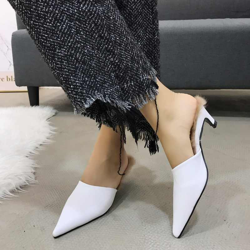aa9b47b3fcc8 ... 2019 New brand pointy toe leather mules slippers women winter rabbit fur  outdoor trend slides shoes