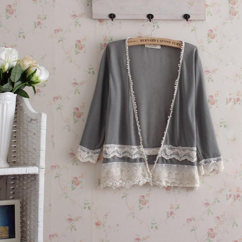 Floral Kimono Cardigan Crochet Cropped Renda Blusas Mujer Lolita Vintage Hippie Boho Women Top Quimono Tunic Vetement Femme Lace Women's Clothing
