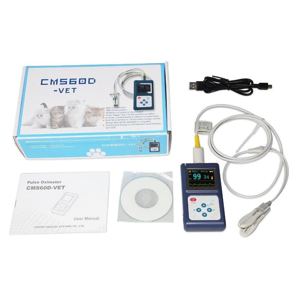 Oximetro CONTEC брендовый ручной пульсоксиметр CMS60D для ветеринарного использования, цветной oled дисплей 1,8 - 3