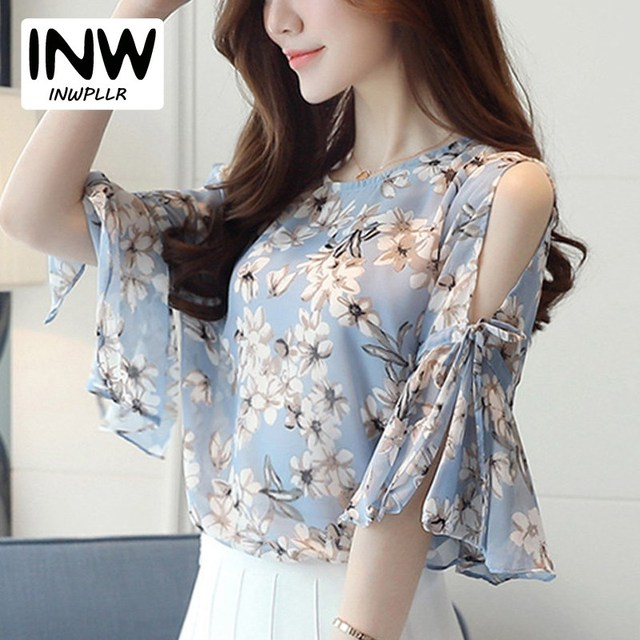 cdef619cea7c5 2018 Chiffon Floral Print Blouses For Women Ladies Fashion O-Neck Flare  Sleeve Blusas Tops