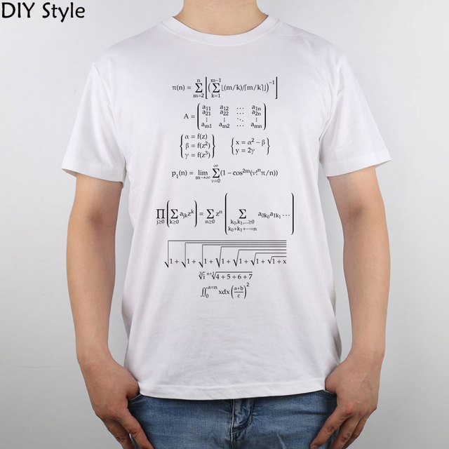 Matemática fórmulas matemáticas de renderização t-shirt Top Camisa Dos Homens T de Algodão Puro