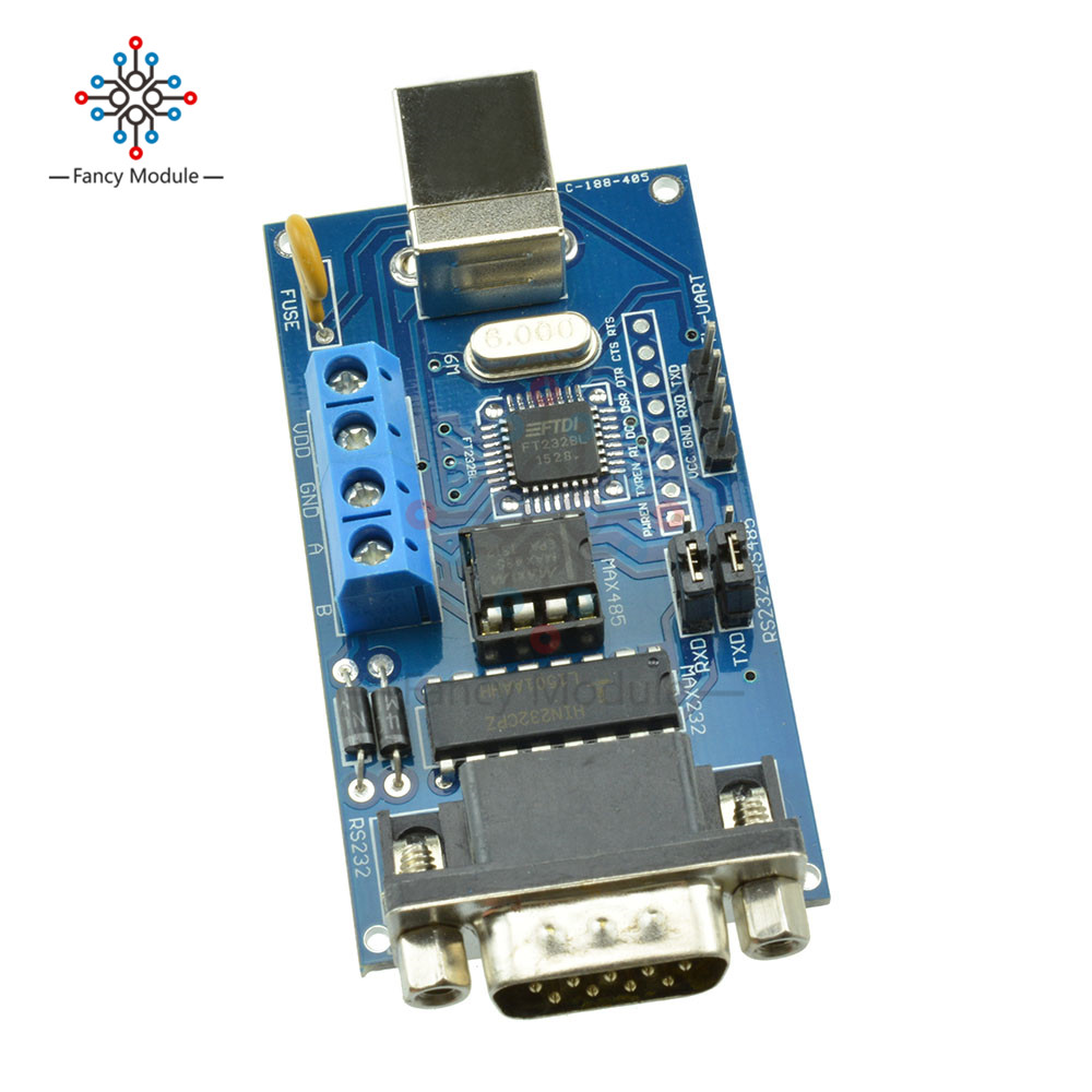 цена на USB to Serial RS232/UART TTL/RS485 DB9 Adapter Converter Module FTDI FT232BM/BL