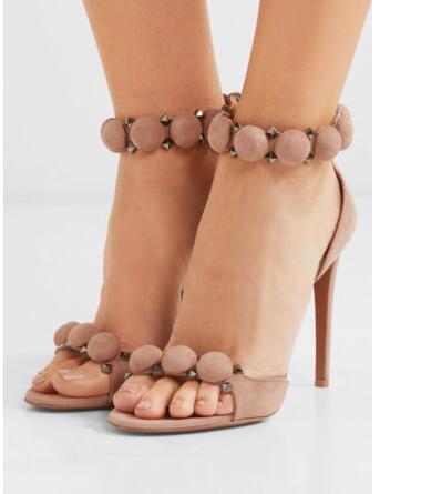 Moraima Snc Woman Peep Toe High Heel Sandals Ankle Sphere&Gunmetal Pyramid Stud Shoes Summer Thin Heels Gladiator Sandal