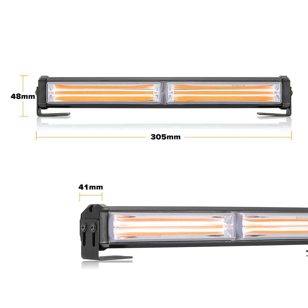 36W LED Strobe Flash Warning Light Amber LED COB 9 Modes Styling Car Warning Light Police Emergency Flasher Strobe Lamp 12V