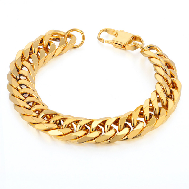 Mens Chain Link Bracelet 14mm Wide Stainless Steel Wrist Band Hand Gold Color Male Jewelry