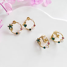 Sweet Design Round Metal With Pink Green Glass Pearl Stud Earrings For Woman Jewelry