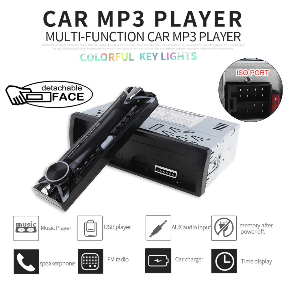 1 Din 12V Digital Bluetooth Car Radio Audio Stereo MP3 Player 7 Color Light Front Detachable Panel Support SD FM AUX USB