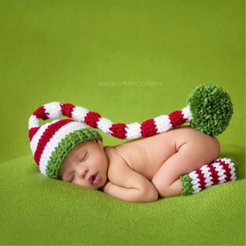 0-3 month Christmas Baby Hat Handmade Beanies Costume Knitted newborn Long Tail Crochet Newborn Photography Props free shipping
