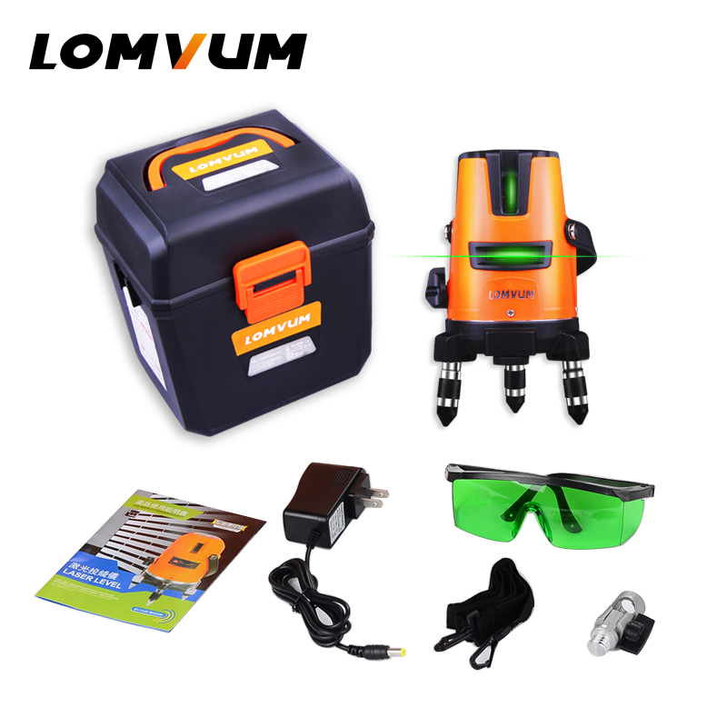 LOMVUM 3Lines 4points Laser Level Self-Leveling 360 Horizontal Vertical Cross Super Green Beam slash functional Line laser купить