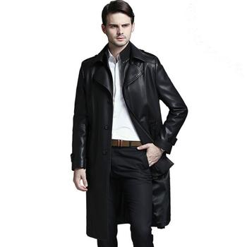 New 2020 Mens Brand Fashion Business Sheepskin Windbreaker Men Genuine Leather Motorcycle Jacket Trench Coat M-4xl