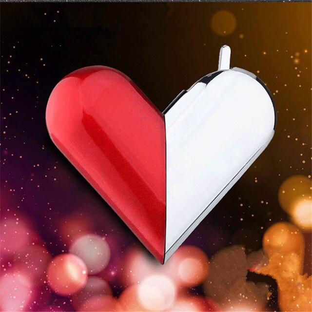 Butane Gas Lighters Decorative Flame Love Heart Shape Lighter Peculiar Can Fold Cigarette Metal