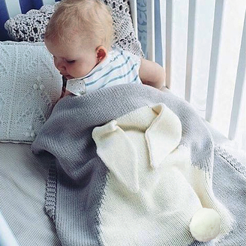 Knitted Kids Blanket Handmade Woolen Blended Soft Baby Blanket Newborn Cartoon Rabbit Baby Swaddle Sofa Blanket 120*75cm