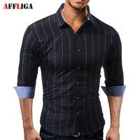 AFFLIGA Erkekler Gömlek 2017 Yeni Moda Uzun Kollu Izgara Gömlek erkekler Rahat Gömlek Erkek Gömlek Sosyal Chemise Homme Camisa Masculina Tops