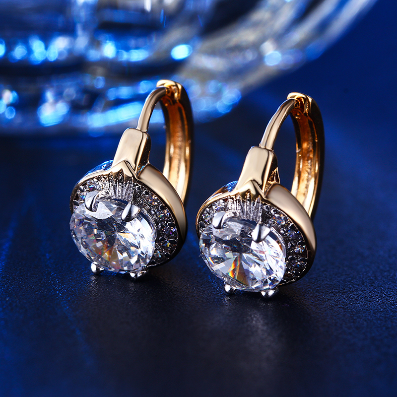 24K gold plated stud font b earrings b font Exquisite AAA cubic Zirconia Jewelry for font
