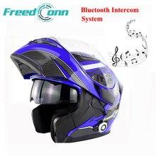 FreedConn Nueva Lente Doble Bluetooth Incorporado 1500 m 8-way Full Duplex Bluetooth Intercom Casco de La Motocicleta Tirón Encima Del Casco Auricular