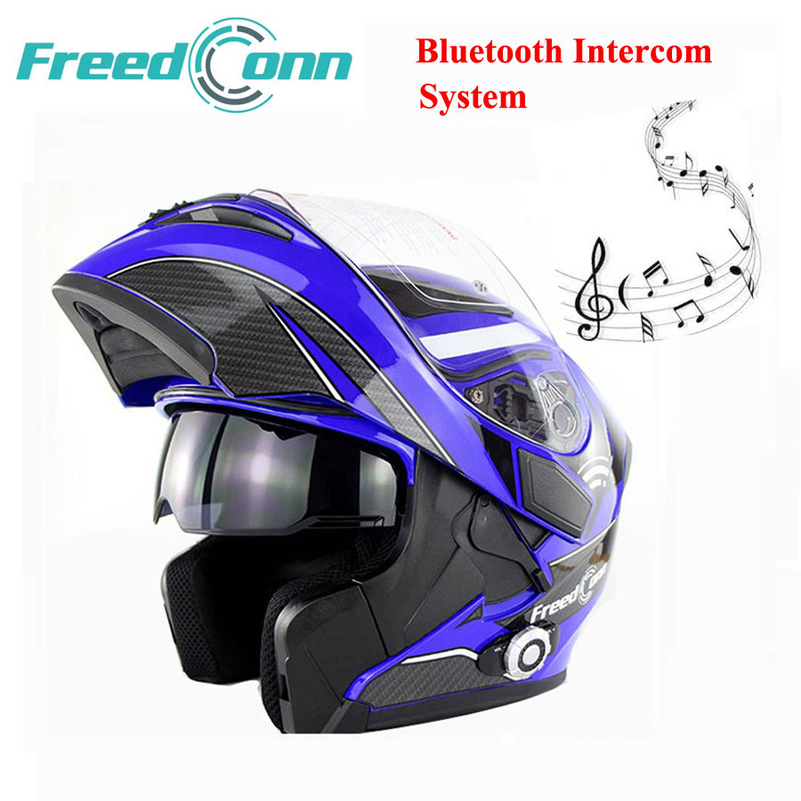 Prix pour FreedConn Nouveau Double Lentille Bluetooth Moto Casque Intégré 1500 m 8-way Full Duplex Bluetooth Interphone Flip Up Casque Casque