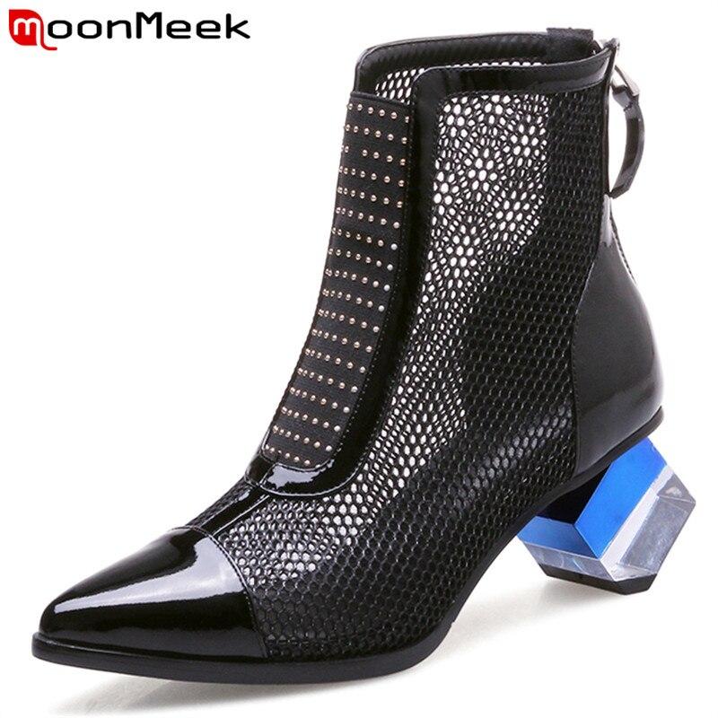Maille Femme Cuir Bottes Femmes Pointu Vache noir De Moonmeek D été 2019  White Bal Dames Mode Chaussures ... ddcc0e8cd5a1