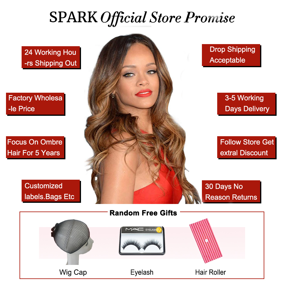 Spark Human Hair Ombre Malaysian Body Wave Bundles with Closure Human Hair Weave Bundles 3 Bundles with Closure For Black Women