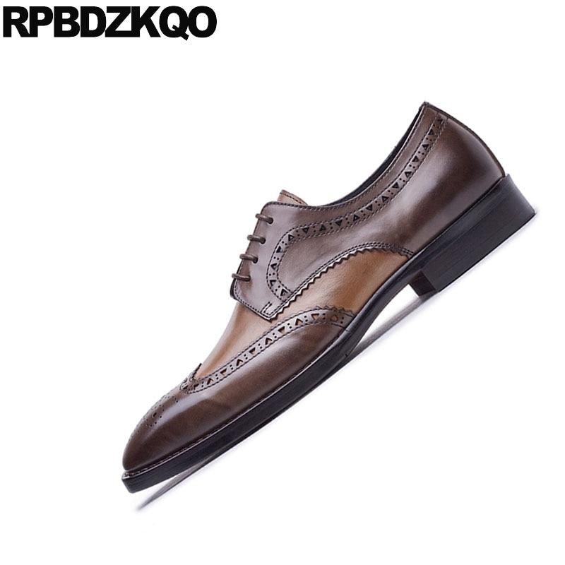 Square A Toe De Wingtip Vestido Mano Europeo El Formal Brogue Italianos Oxfords Hombres Marrón Negro Para Negocios Hecho Elegante Zapatos Boda marrón Partido pawqa