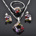 Unique Multicolor Cubic Zirconia 925 Sterling Silver Jewelry Sets For Women Earrings/Pendant/Necklace/Rings Free Shipping JS0104