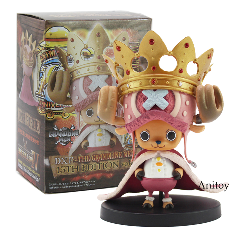 Anime One Piece DXF The Grandline Men The 15th Edition vol.4 Tony Tony Chopper With Crown PVC Figure Collectible Model Toy 8cm