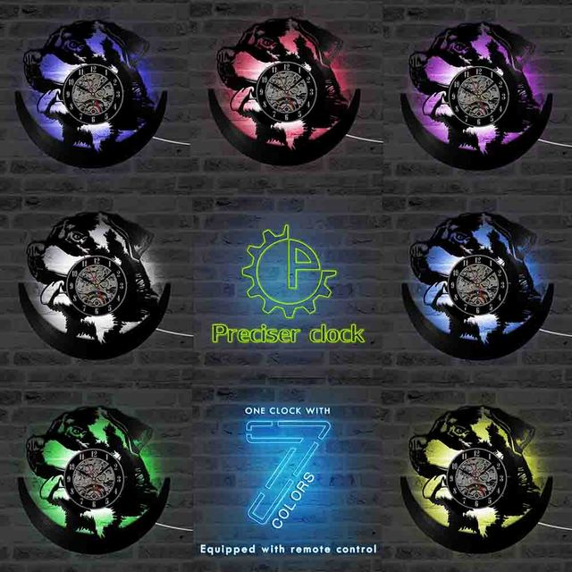 Hollow rottweiler dog 3d led lighting wall clock modern design vinyl hollow rottweiler dog 3d led lighting wall clock modern design vinyl record clock amimal silhouette room aloadofball Images