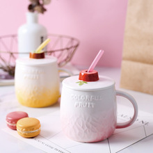 Creative fruit big belly ceramic mug large capacity couple coffee cup with straw