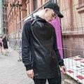 VIISHOW Homens Moletom Palácio Skates Moletom Pullovers Homens Marca Do Hoodie Hip Hop camisola dos homens de couro pu Jaqueta Preta