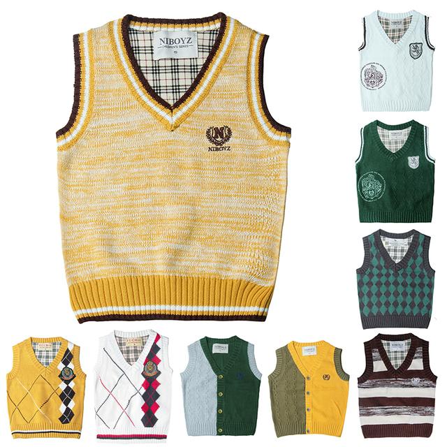 Crianças padrões camisola colete cardigan colete de malha crianças meninos estilo preppy colete colete sólida primavera & outono menino outerwear