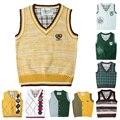 Kids sweater patterns vest cardigan knitted vest children preppy style boys vest solid spring&autumn waistcoat boy outerwear