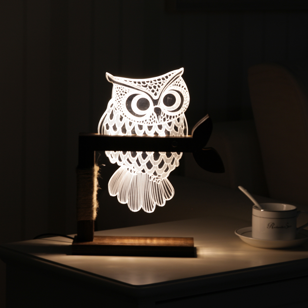 Creative 3D Owl Desk Lamp Bedroom LED Night Light Wood Acrylic Panel Warm White Dimmable Decor Lighting USB Cable US or EU Plug adjustable owl shaped 3d wooden stand lamp night light bedroom table desk lamp warm white lighting plug connector home decor