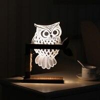 Creative 3D Owl Desk Lamp Bedroom LED Night Light Wood Acrylic Panel Warm White Dimmable Decor Lighting USB Cable US or EU Plug