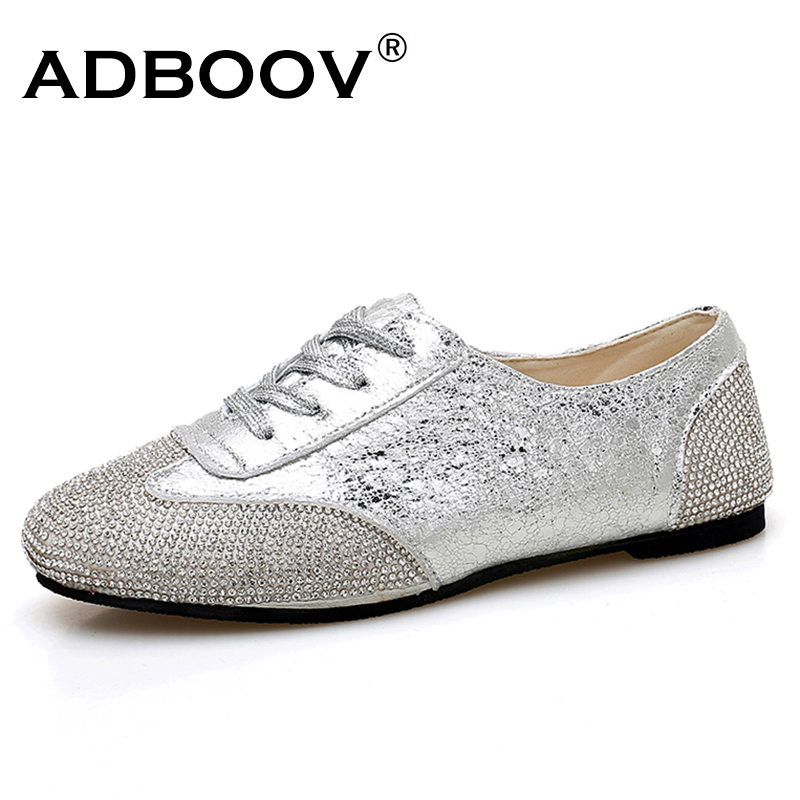ABDOOV Fashion glitter shoes women Round Toe Flat Shoes Lace Up ladies  shoes casual Loafers buty damskie Red Black Silver-in Women s Flats from  Shoes on ... 5a1df2200665