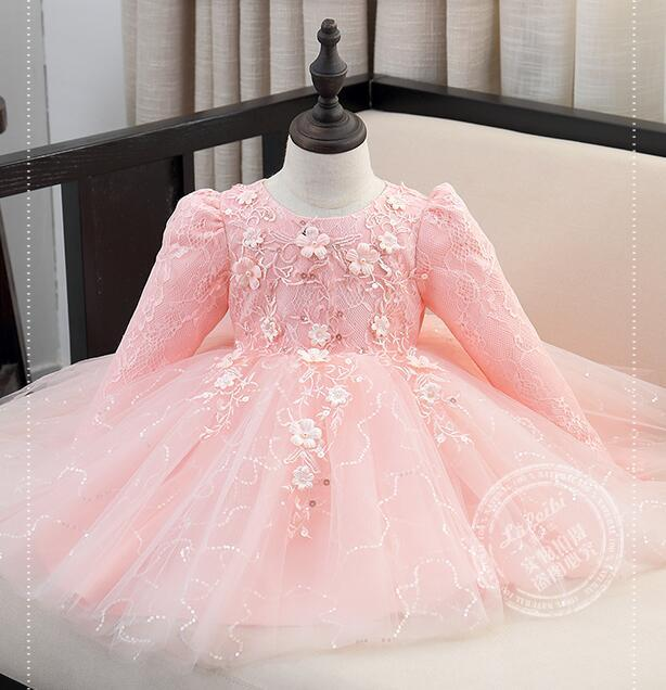 Top Quality Sequin Red/White/Pink baby girls 1 year old birthday dress long sleeve appliques baptism christening wedding gown