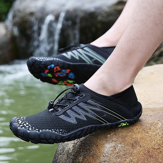 36 46 יוניסקס קיץ מים נעלי גברים חמש אצבע חיצוני במעלה הזרם שכשוך נטו טיולים חמישה טופר טיולים קל משקל לנשימה נעליים