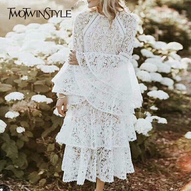 Deuxtwinstyle dentelle longue robe femmes évider Flare manches volants Patchwork taille haute élégant été vacances robes 2018