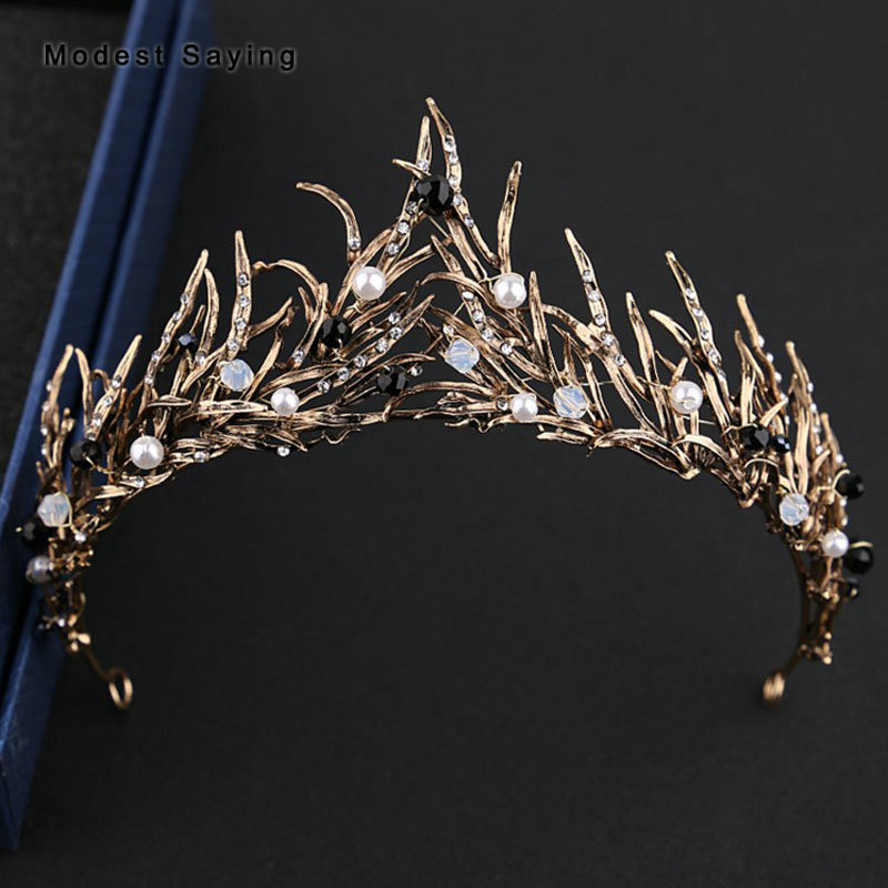 New Gothic Style Wedding Tiaras and Crowns 2018 with Pearls Women Elf Silver Bridal Hair Jewelry Wedding Accessories Headpiece