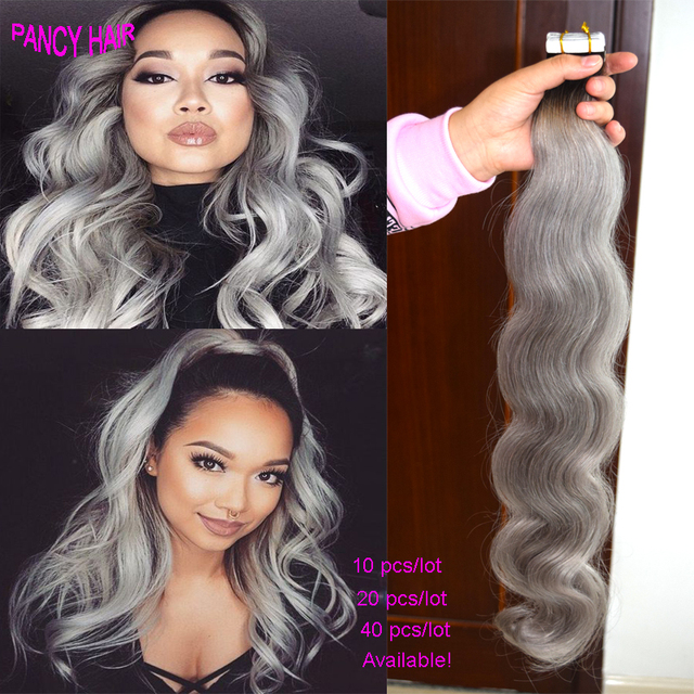 Ombre Silver Grey Tape In Human Hair Extensions 10 20 40pcs Ombre