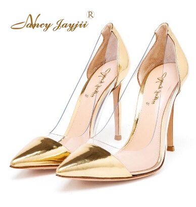 Gold Lucency Pointed Toe Transparent Pumps Shoes Women Stylish High Heel  Woman Shoes PVC Sandals Office Career Pumps Nancyjayjii d83bd830c3e1