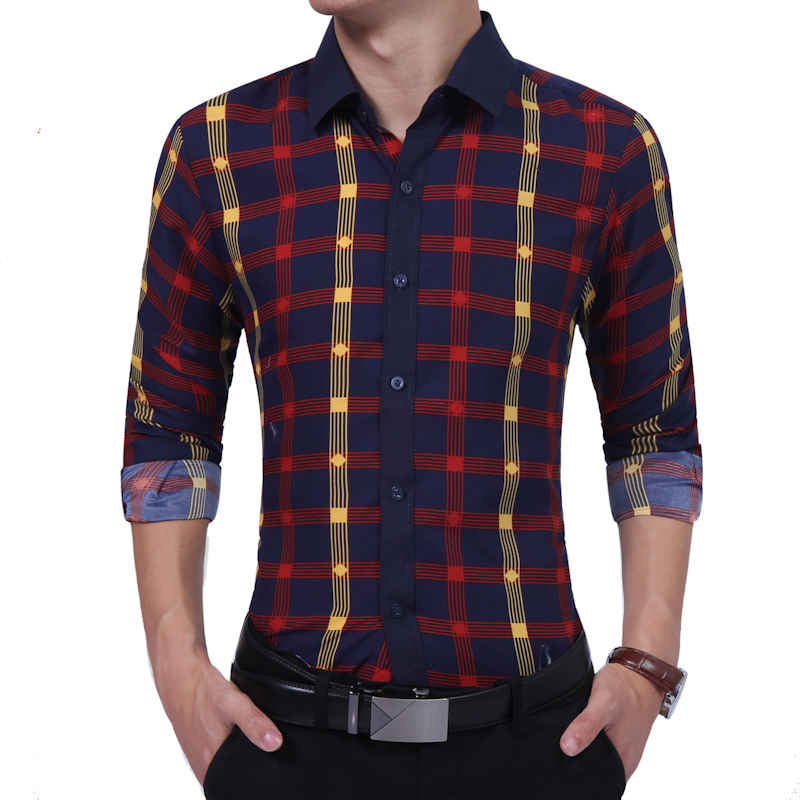 2020 Autumn Winter New Men Shirt Fashion Contrast Color Plaid Long-sleeved Shirt Society Business Shirt Camisa Masculina