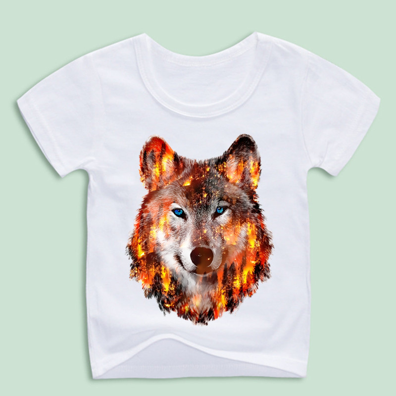 все цены на Children Animal Wolf Hardliner Print T-Shirts Kids Summer Tops Girls Boys Short Sleeve T Shirt Casual Baby Clothes