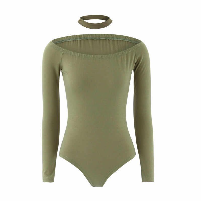 נשים Bodysuits עבור Streetwear סקסי כבוי כתף ארוך שרוול מוצק Bodysuits נקבה ביב דקור נקבה סתיו Slim Bodysuits
