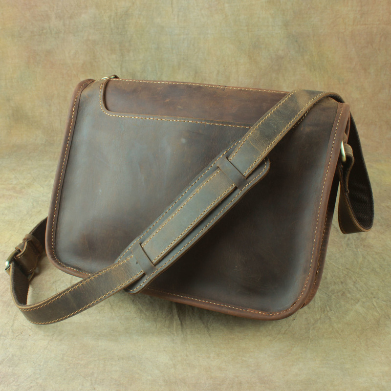 NEW men 100 genuine leather messenger bag cow leather CLASSIC shoulder bags for men handmade vintage