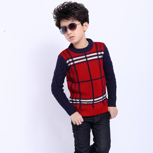 2015 otoño suéter de manga larga a cuadros grandes vírgenes niños suéter de cobertura