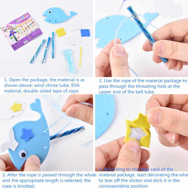 Творческий колокольчики наклейки эва DIY наборы Детская игрушка ручной работы для детского сада украшения дома ветер звонок с орнаментами