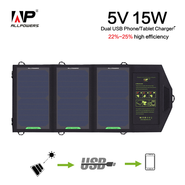ALLPOWERS 5V 15W Portable Solar Phone Charger for iPhone iPad Samsung More Phones and Tablets, Outdoors Wireless Solar Charger.
