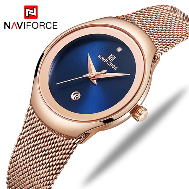 NAVIFORCE Women's Luxury Brand Fashion Dress Ladies Full Steel Mesh Strap Waterproof Quartz Watches