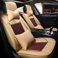 Autofans Universal Wood Bead with Leather Car Seat Covers Massage Automobile Seat Cushion Summer Seat Protector Airbag Free Z10