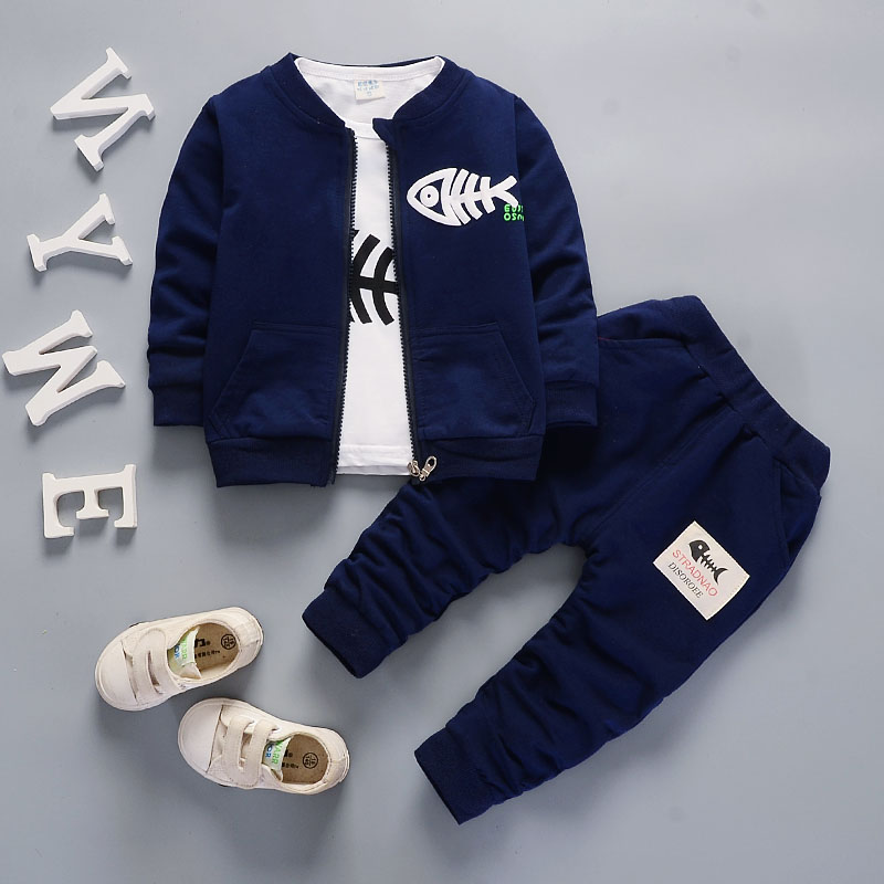 Bibicola baby boys clothing set toddler bebe coat jacket+ T shirt+pants 3 pcs newborn sport suit infant boys clothes set стоимость